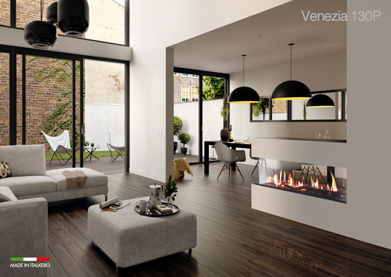 The all new 3 sided venezia fireplace for Three way fireplace